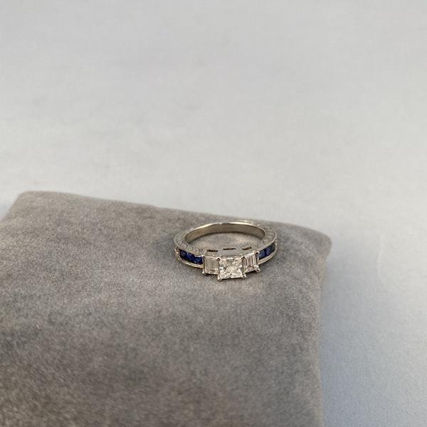 1970's, 18ct White Gold Diamond and Sapphire stone set Ring, SHAPIRO & Co since1979 - image 6