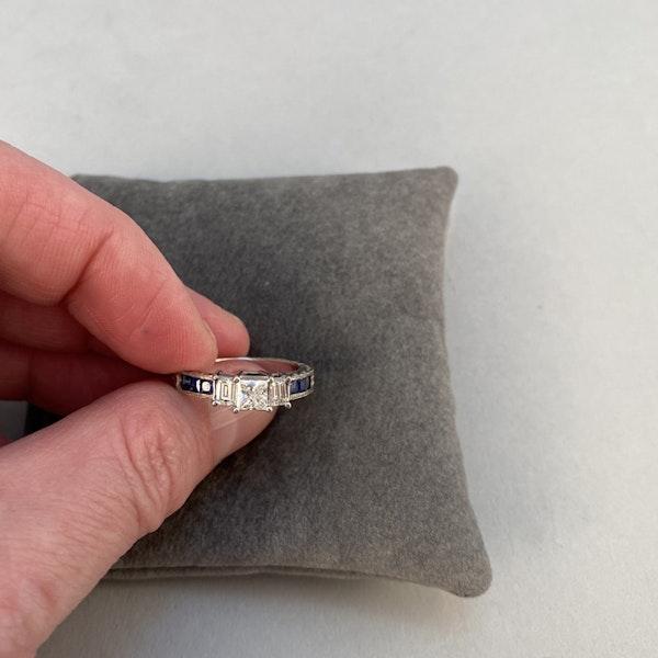 1970's, 18ct White Gold Diamond and Sapphire stone set Ring, SHAPIRO & Co since1979 - image 5