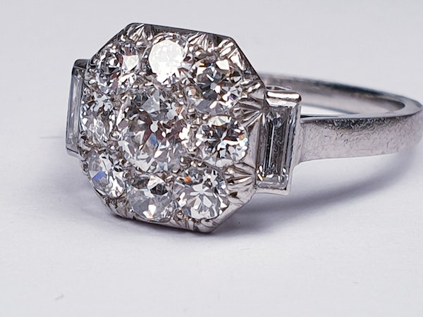 French Art Deco Diamond Cluster Engagement Ring  DBGEMS - image 4