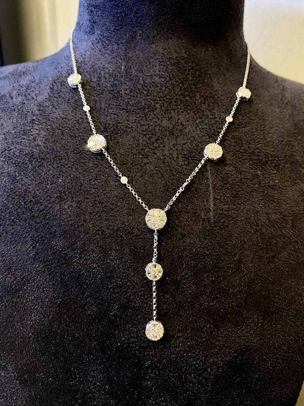18K White Gold 3.50ct Diamond Necklace - image 3