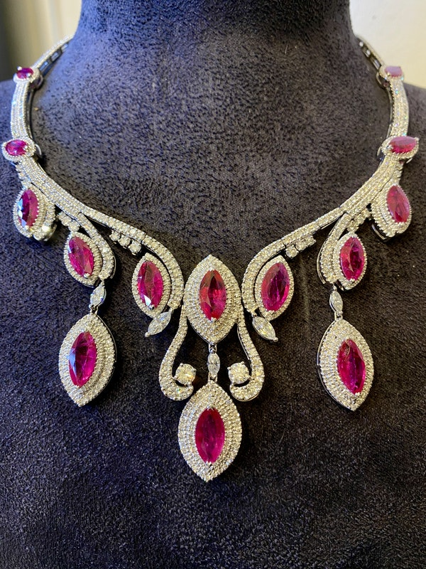 18K white gold Natural Ruby and Diamond Necklace - image 5