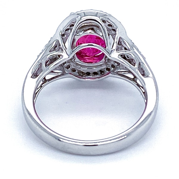 18K white gold 3.54ct Natural Ruby and 0.32ct Diamond Ring - image 3