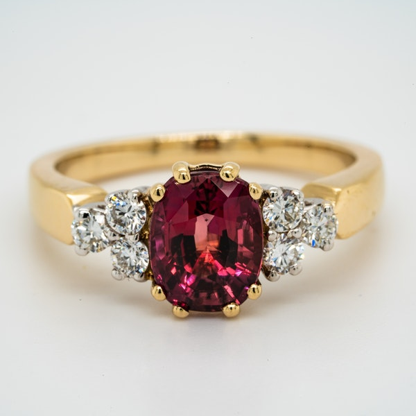 18K yellow gold 2.12ct Natural Ruby and 0.32ct Diamond Ring. - image 1