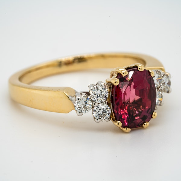 18K yellow gold 2.12ct Natural Ruby and 0.32ct Diamond Ring. - image 2