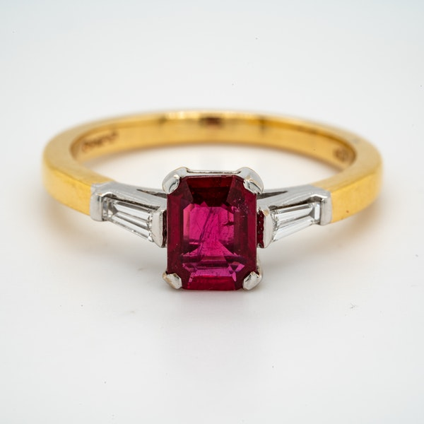 18K yellow/white gold 1.10ct Natural Ruby and 0.18ct Diamond Ring - image 1