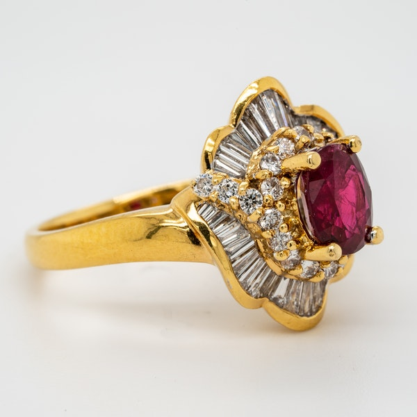 18K yellow gold 1.26ct Natural Ruby and 1.00ct Diamond Ring - image 2
