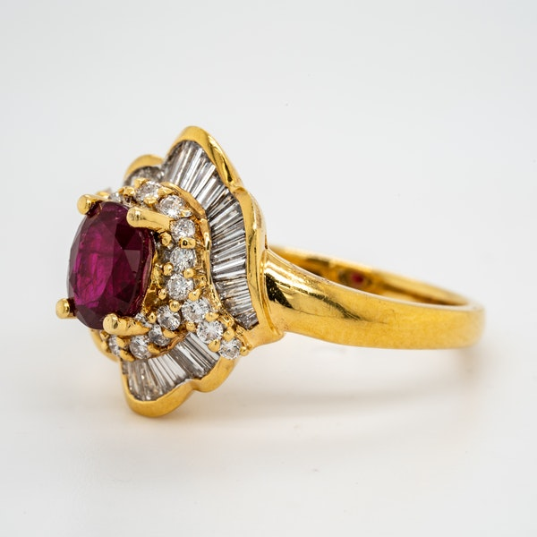 18K yellow gold 1.26ct Natural Ruby and 1.00ct Diamond Ring - image 3