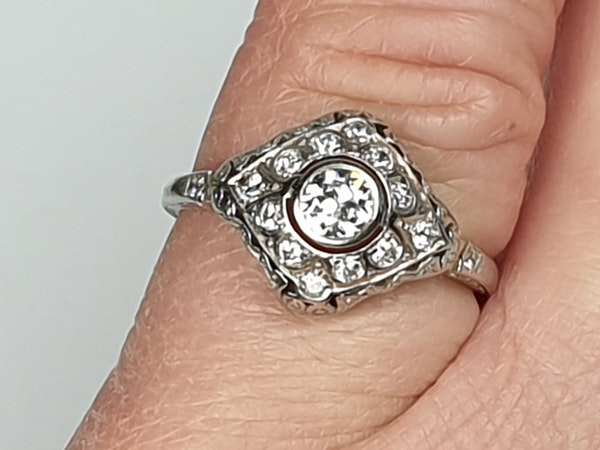 Art Deco Diamond Engagement Ring  DBGEMS - image 5