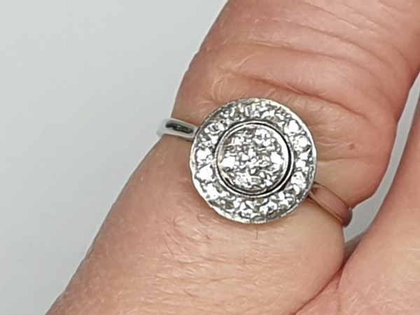 Art Deco Diamond Target Engagement Ring  DBGEMS - image 3