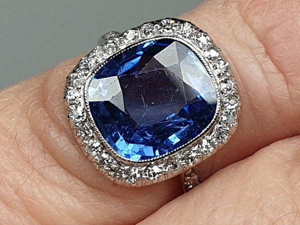 5ct natural Ceylon sapphire and diamond art deco ring  DBGEMS - image 4