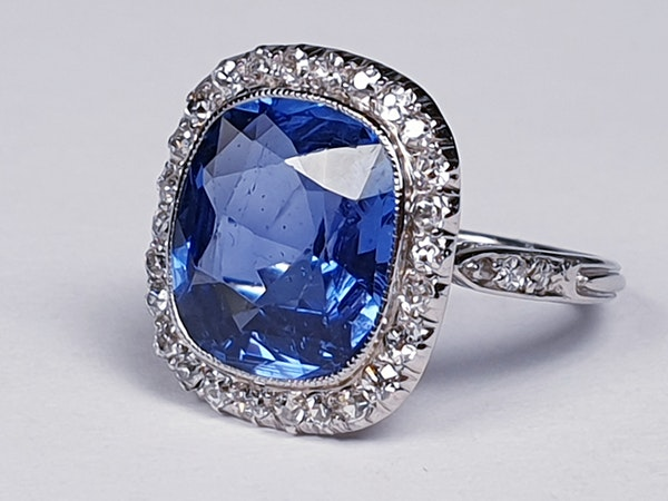 5ct natural Ceylon sapphire and diamond art deco ring  DBGEMS - image 2