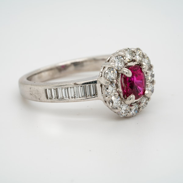 18K white gold 0.50ct Natural Ruby and 1.00ct Diamond Ring - image 2