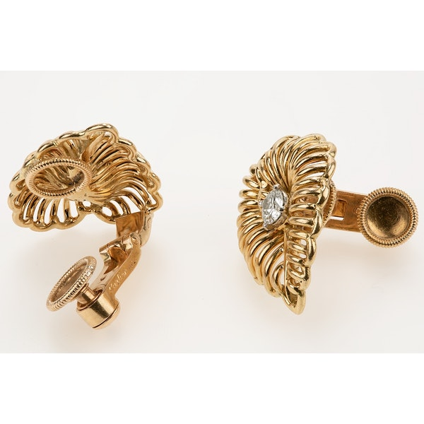 Vintage Cartier Earrings of Leaf Design in 18 Karat Gold and Diamonds, French circa 1950. - image 2