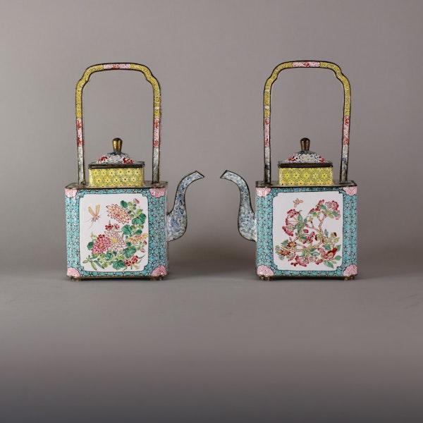 Pair of Chinese Canton enamel ewers, late Qianlong (1735-96) - image 1