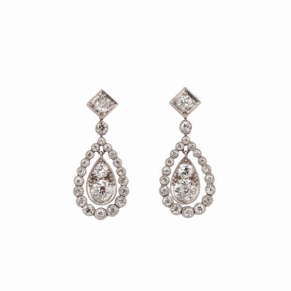 Edwardian diamond drop earrings - image 1