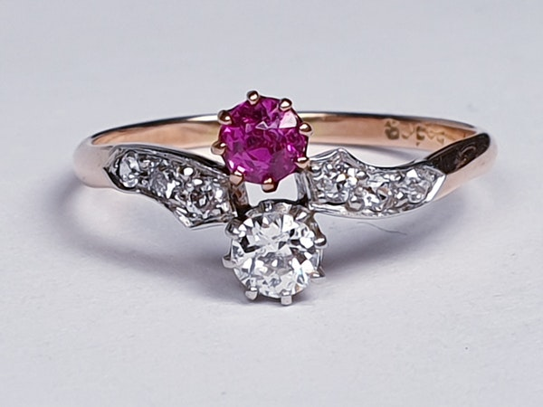 Edwardian Ruby and Diamond Cross Over Ring  DBGEMS - image 1