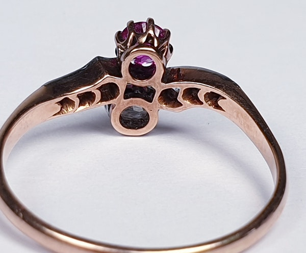 Edwardian Ruby and Diamond Cross Over Ring  DBGEMS - image 5