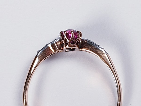 Edwardian Ruby and Diamond Cross Over Ring  DBGEMS - image 2