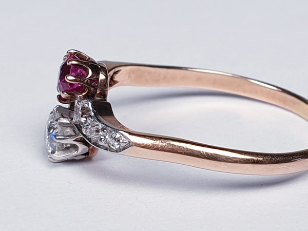 Edwardian Ruby and Diamond Cross Over Ring  DBGEMS - image 4