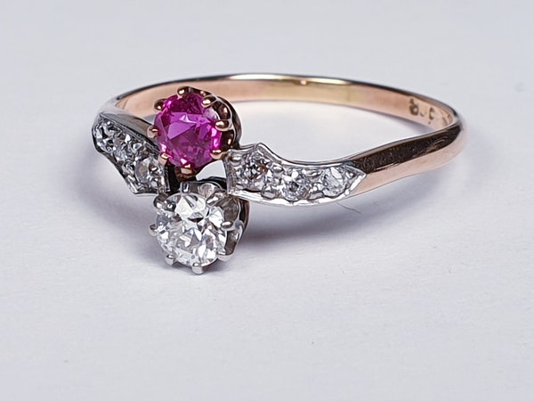 Edwardian Ruby and Diamond Cross Over Ring  DBGEMS - image 3