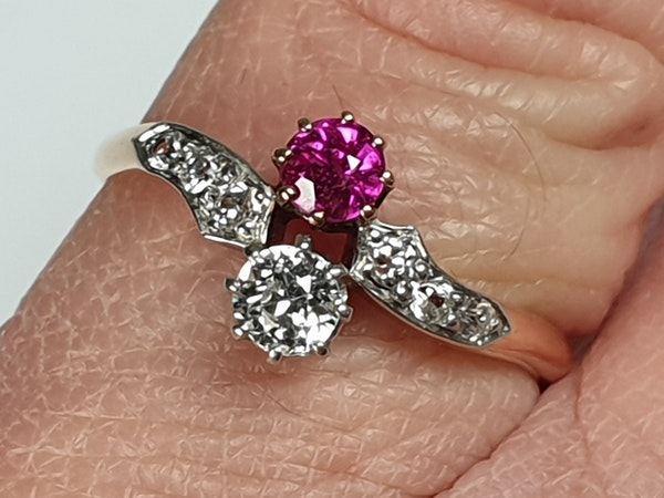 Edwardian Ruby and Diamond Cross Over Ring  DBGEMS - image 6