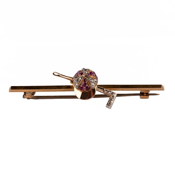 Equestrian Bar Brooch of Jockeys Cap & Crop set with Rubies and Diamonds, English circa 1870 - image 1