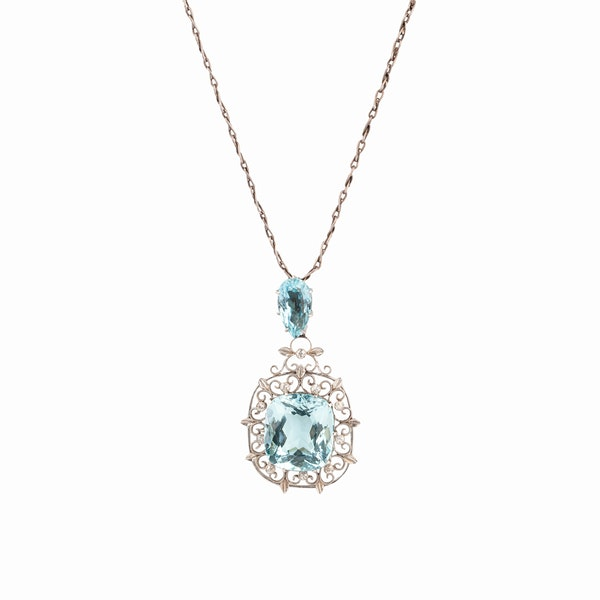 Liberty boxed aquamarine diamond pendant - image 1