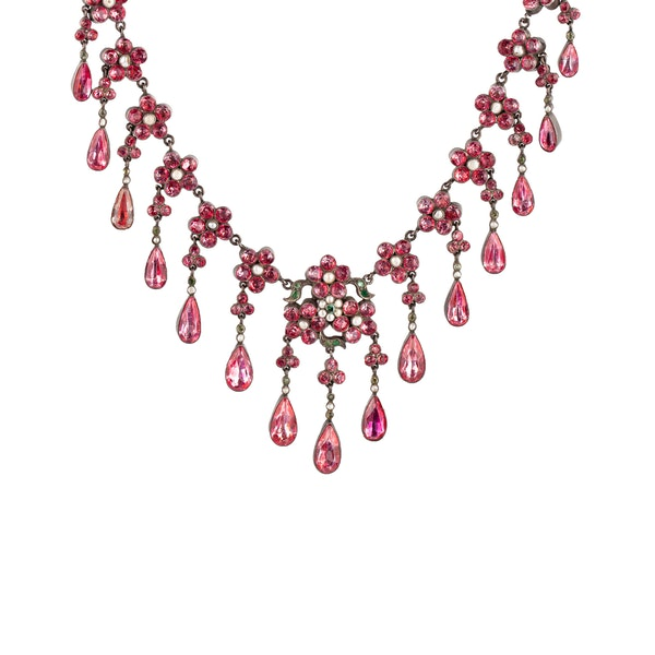 Victorian pink paste natural pearl necklace - image 1