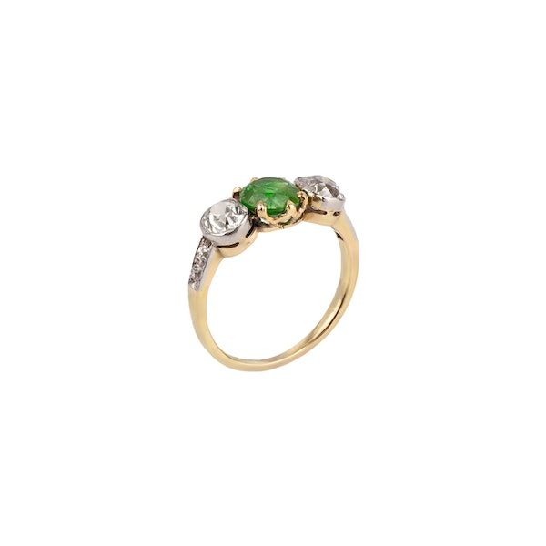 Demantoid garnet diamond ring - image 1