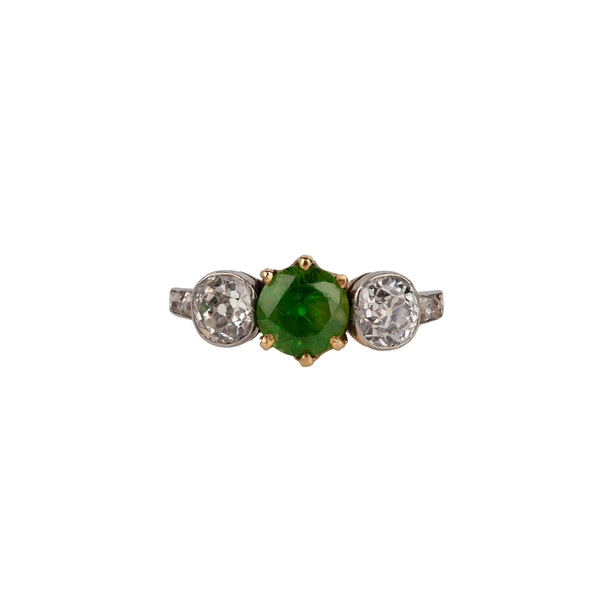 Demantoid garnet diamond ring - image 2