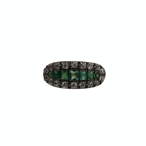 Victorian emerald and diamond ring - image 1