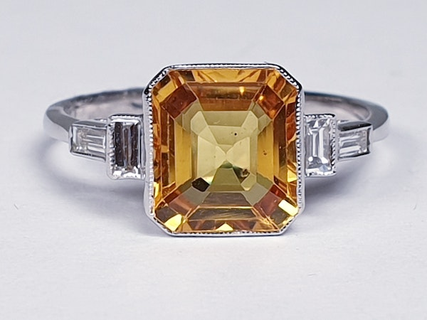 Yellow sapphire and diamond engagement ring  DBGEMS - image 1