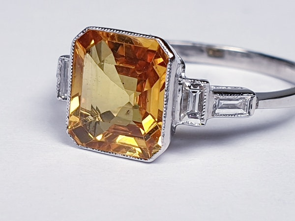 Yellow sapphire and diamond engagement ring  DBGEMS - image 3