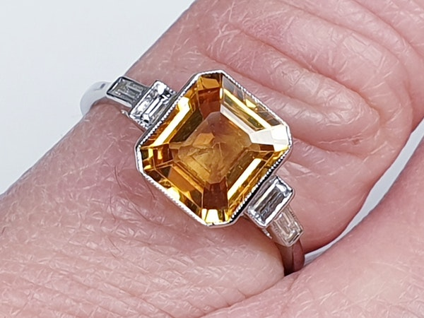Yellow sapphire and diamond engagement ring  DBGEMS - image 2