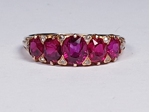 Gem Burmese ruby five stone ring  DBGEMS - image 1