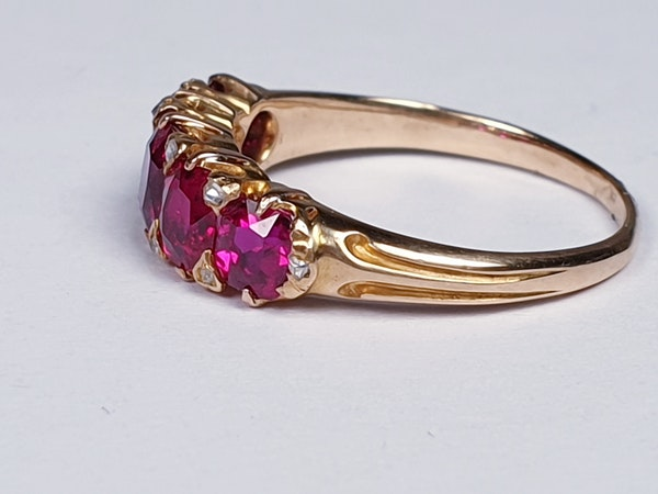 Gem Burmese ruby five stone ring  DBGEMS - image 2