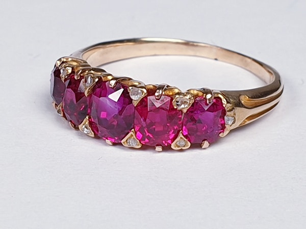Gem Burmese ruby five stone ring  DBGEMS - image 6