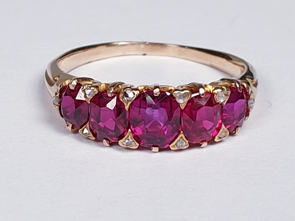 Gem Burmese ruby five stone ring  DBGEMS - image 5