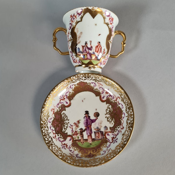 Meissen two-handled beaker and saucer,  the saucer circa 1724 and the beaker slightly later - image 1