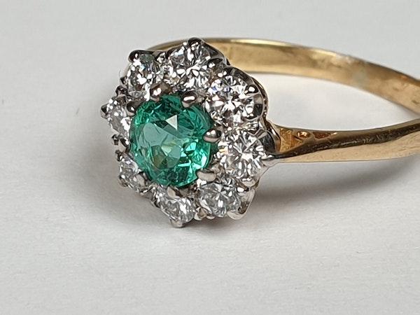 Bright fresh emerald and diamond engagement ring  DBGEMS - image 2