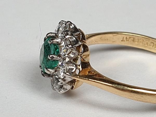 Bright fresh emerald and diamond engagement ring  DBGEMS - image 1