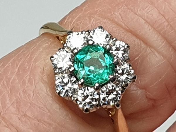 Bright fresh emerald and diamond engagement ring  DBGEMS - image 4