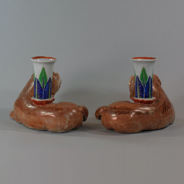 Pair of Chinese famille rose recumbent pug dog candle holders, Jiaqing (1796-1820) - image 4