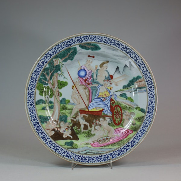 Chinese famille rose mythological subject plate, Qianlong (1736-1795) - image 1