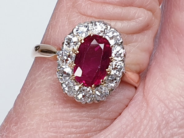Antique ruby and diamond engagement ring  DBGEMS - image 3