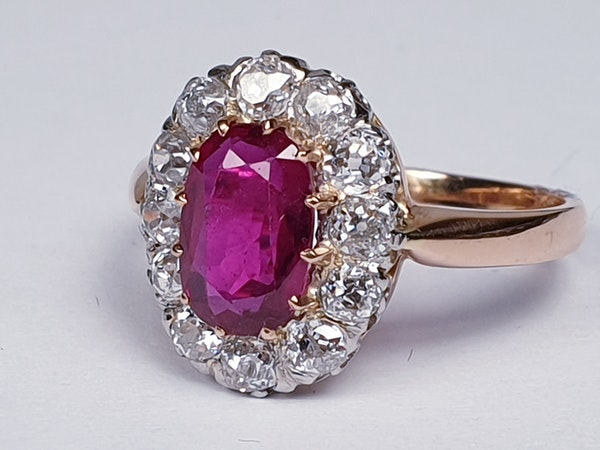 Antique ruby and diamond engagement ring  DBGEMS - image 4