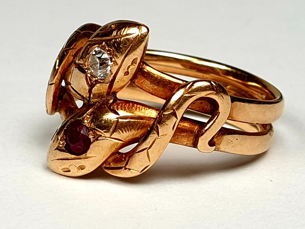 Antique ruby and diamond snake ring  DBGEMS - image 1