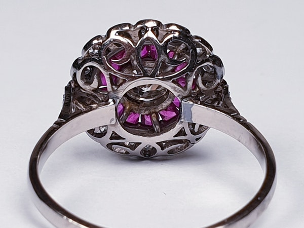 Art Deco Ruby and Diamond Target Ring  DBGEMS - image 1