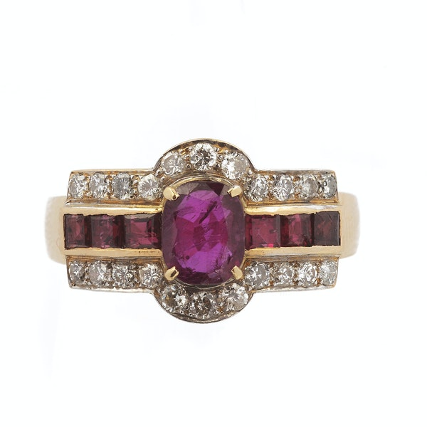 18ct Yellow Gold Ring with Diamonds and Rubies - image 1