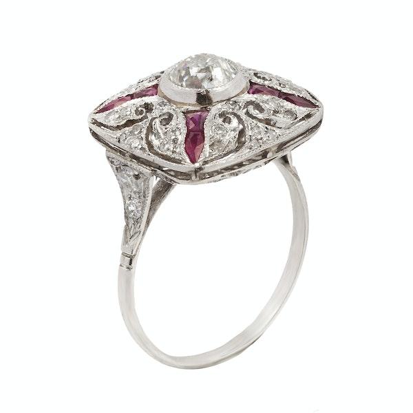 Art Deco Platinum, Ruby & Diamond Ring - image 1
